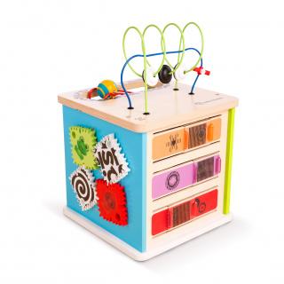 Hračka dřevěná aktivní kostka Innovation Station HAPE 12m+