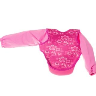 Bibetta neoprenový bryndák s rukávky růžoví motýlci