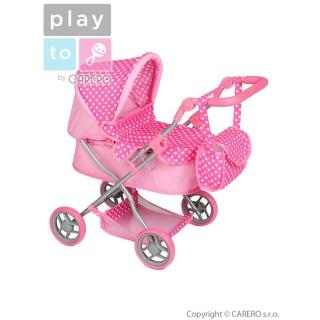 Hluboký kočárek pro panenky PlayTo Viola světle růžový Růžová